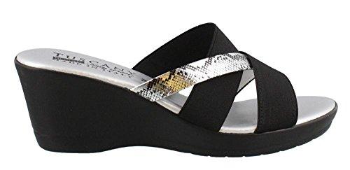 Easy Street Women's Tuscany, Berenice Mid Heel Wedge Sandals Black Silver 5 (Easy Street Mid Heel Sandals)