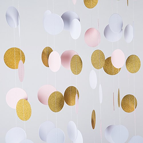 MOWO Glitter Paper Garland Circle Dots Hanging Decor,2'' Diameter,9.8-feet(gold glitter/pink/white,2pc) -