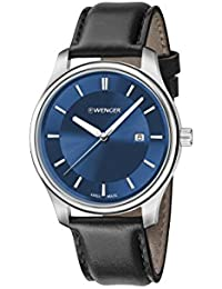 Men's 'City Classic' Swiss Quartz Stainless Steel and Leather Casual Watch, Color Black (Model: 01.1421.112)