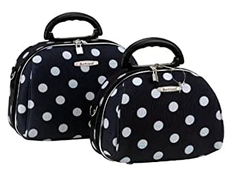 Rockland Luggage Rockland 2 Piece Cosmetic Set, Black Dot, One Size