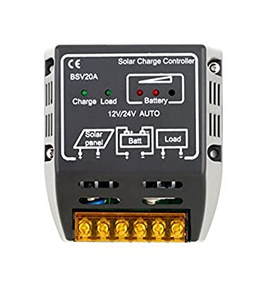 20A 12V/24V Solar Battery Charge Regulator,eHappyMaker Solar Panel Charge Controller Battery Charge Overloading and Short-circuit Safe Protection Autoswitch