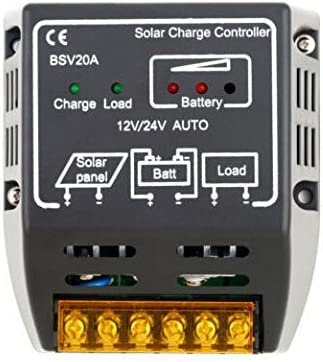 eHappyMaker 20A 12V 24V Solar Battery Charge Regulator, Solar Panel Charge Controller Battery Charge Overloading and Short-Circuit Safe Protection Autoswitch