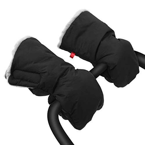 Merya Stroller Hand Muff Gloves Extra Thick Waterproof Anti-freeze Pushchair Gloves, Winter Stroller Mittens Warmer for Parents and Caregivers (Black)