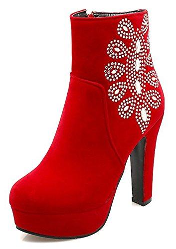 Chaussures à bout rond à fermeture éclair rouges Sexy femme JiI8gq