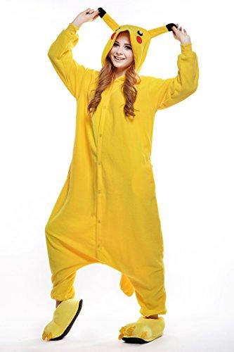 Homme Unisex Adult Onesies Pajamas Sleepwear, Christmas Party Cosplay Onepiece Costumes,Pikachu