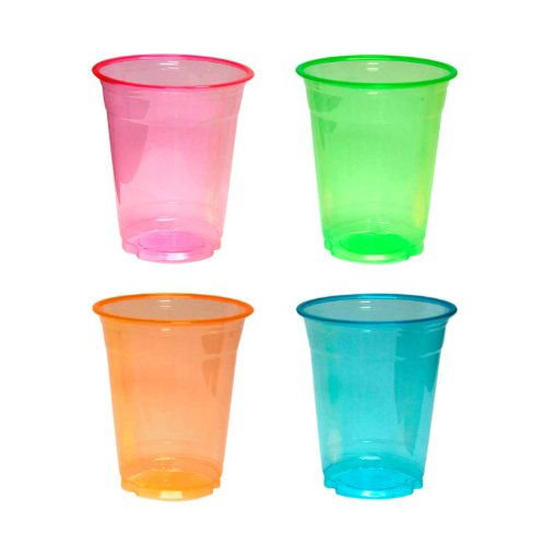Party Pack Cups - Party Essentials Soft Plastic 12-Ounce Party Cups and Tumblers, Assorted Neon, 40-Count
