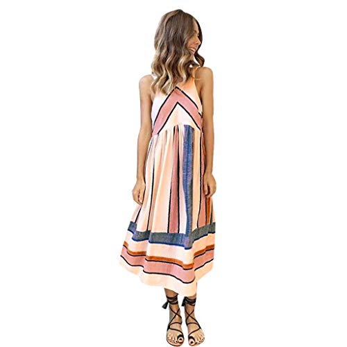 Benficial Women's Fashion Summer Casual Loose Long Dress Sexy Stripe Dress Pink