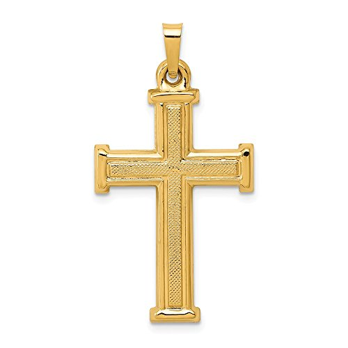 14k Yellow Gold Brushed and Polished Latin Cross Pendant 1.02g (33x17.5mm) (Brushed Cross Pendant)