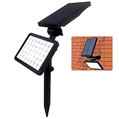 FARSIC 48 LED Solar Lights Spotlight Outdoor Landscape Lighting Waterproof Wall Adjustable Light for Night Security and Lawn Lamp Bright (White Light) + Bonus Phone Ring Holder