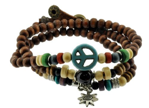 Mandala Crafts Peace Symbol Wood Beads Wrap Bracelet/Zen Bracelet/Multi-layer Wristband/Surf Bracelet #329 ()