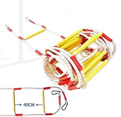 YOLE Escalera De Cuerda, Escaleras De Emergencia De Resina De Escalera, para Niños Y Adultos Escalera De Entrenamiento Escalera De Cuerda para Niños con Peldaños De Madera Ideal para Escalada,40cm,5M: Amazon.es: Deportes