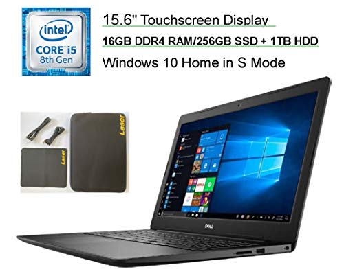 "Newest Dell Inspiron 15.6"" HD Touchscreen Premium Laptop, 8th Gen Intel Core i5-8265U Up to 3.1GHz, 16GB DDR4 RAM, 256GB SSD+1TB HDD,HDMI,USB 3.0,Bluetooth, WiFi, Windows 10, Black+Laser Accessories"