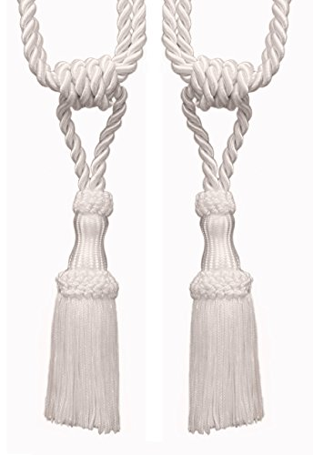 Pair Of Premium White Decorative Chainette Tiebacks, 5″ Tassel Length, 30″ Spread (embrace), COLOR: White – A1