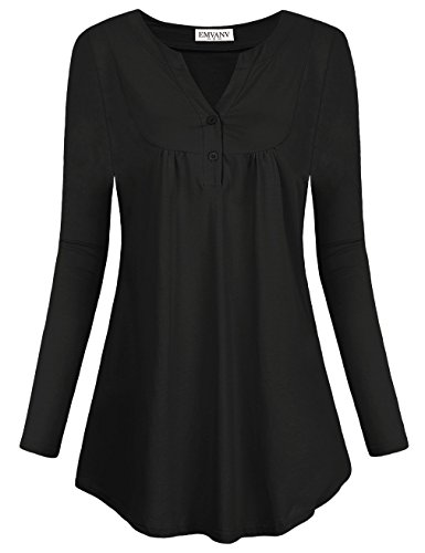 Tunic Shirts,EMVANV Prime Clothes for Women Outfits Casual Wear Designer Special Unique Work Henley Jersey Mini Tunics Dresses for Women with Sleeves,Black M