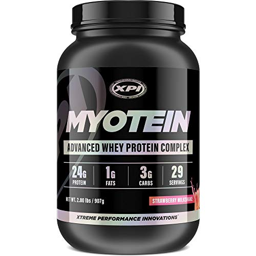 (XPI Myotein Protein Powder (Strawberry, 2lbs) - Best Whey Protein Powder Complex - Great Tasting - Hydrolysate, Isolate, Concentrate, Colostrum, & Micellar)