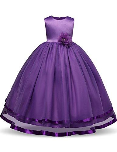 Purple Tutu Dress (NNJXD Girl Sleeveless Chiffon Long Tail Wedding Tutu Flower Dress Size 5-6 Years Purple)