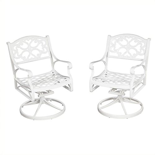 Home Styles 5552-53 Biscayne Swivel Arm Chair, White Finish