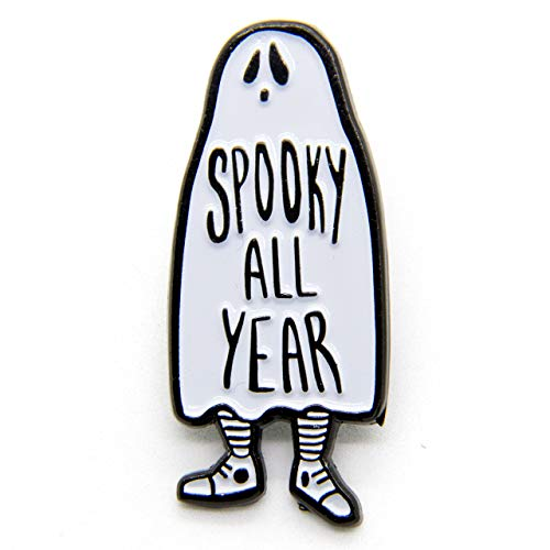 Ectogasm Spooky All Year Ghost Enamel Pin in Black and White Halloween Fashion Accessory Unisex -