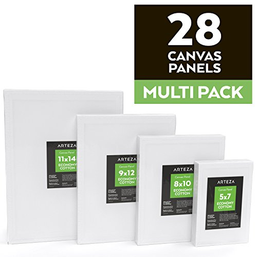 "Arteza Painting Canvas Panels Multi Pack, 5x7"", 8x10"", 9x12"", 11x14"", Set of 28, Primed White, 100% Cotton with Recycled Board Core, For Acrylic, Oil, Other Wet or Dry Art Media, For Artists"