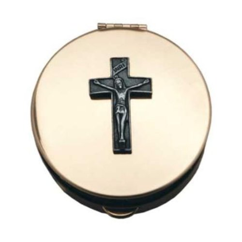 Cathedral Art Polished Brass PYX with Cross/Pill/Keepsake Box ()