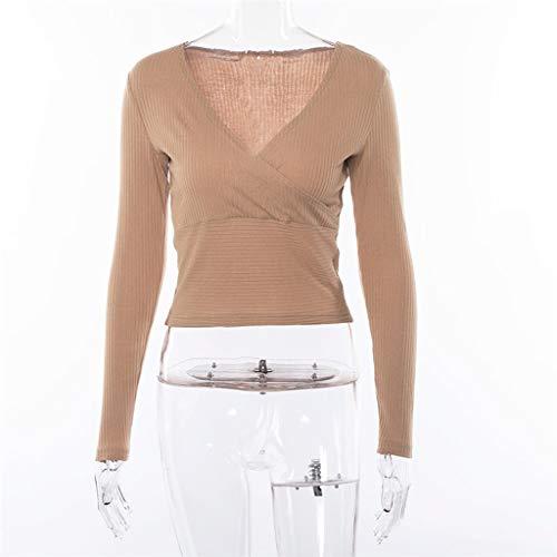 shirt V Manica Cachi Moda Deep Corta A Body Top Donna Scollo Solid T sthBQdCxr