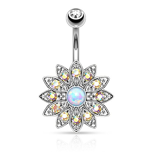 Pierced Owl Paved CZ Crystal Flower with Opal Center Belly Button Ring - Available in Multiple Colors (Silver Tone/Aurora (Crystal Belly Owl)