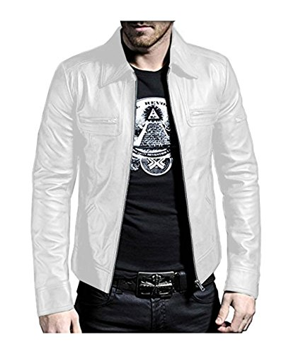 Laverapelle Men's White Genuine Lambskin Leather Jacket - 1510200 - 5XL