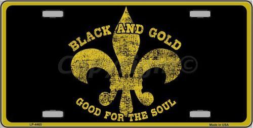 Fleur De Lis Tag (Saints Fleur De Lis Black and Gold Novelty License Plate Tag Sign)