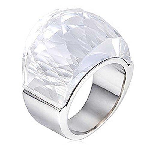 NELSON KENT Women's Stainless Steel Half Pack Transparent Glass Ring Silver White - Nelson Glass