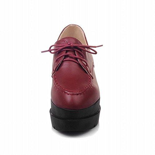 Latasa Dames Lace-up Platform Oxford Schoenen Donkerrood