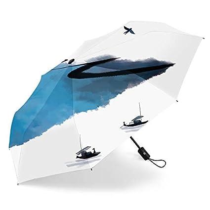 Paraguas plegable automatico Mujer niño Hombre an- Sombrilla Creativa automática con Tres Pliegues: Protector