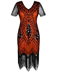 Black Orange 1920s Sequin Art Dress with Sleeve