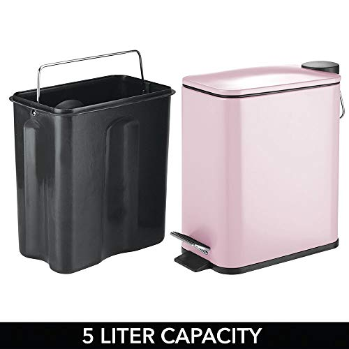 mDesign 5 Liter Rectangular Small Steel Step Trash Can Wastebasket, Garbage Container Bin for Bathroom, Powder Room, Bedroom, Kitchen, Craft Room, Office - Removable Liner Bucket - Light Pink/Blush
