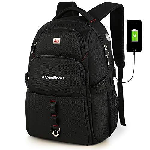 - ASPENSPORT Laptop Backpack with USB Charging Port Fit 17 Inch Computer Backpack Water Resistant Anti Theft Travel Daypack Large 36L College Student for Women and Men Black