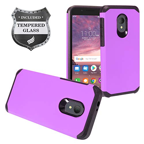 """Eaglecell - Alcatel IdealXTRA 5059R, 1X Evolve (2018), TCL LX A502DL 5.34"""" - Rubberized Hybrid Hard Case + Tempered Glass Screen Protector - AH2 Purple"""
