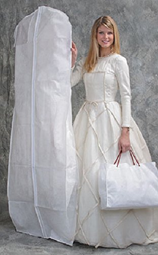 Elaine Karen DELUXE Bridal White Wedding Gown Dress/Coat Garment Bag with Gusset - With Shoe Bag
