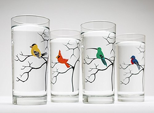 Bird Lovers Glassware Set of 4 Bird Glasses, Bird Glassware, Cardinal, Finch, Hummingbird, Bluebird