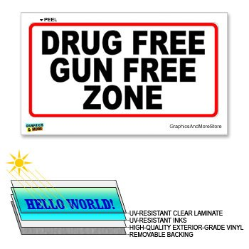 Drug Gun Free Zone - 12 in x 6 in - Laminated Sign Window Sticker