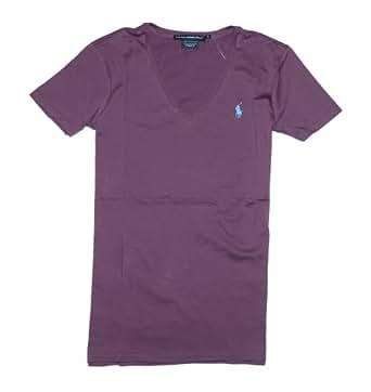 Polo Ralph Lauren Sport Women's V-neck T-shirt (Medium, Purple majestic)