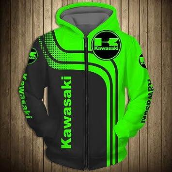 Teens Regalo Zip Hoodie 3D Kawasaki Stampato Manica Lunga Unisex Felpa Sportswear Primavera T-Shirt Cappotti Jacket Felpe con Cappuccio Pullover M