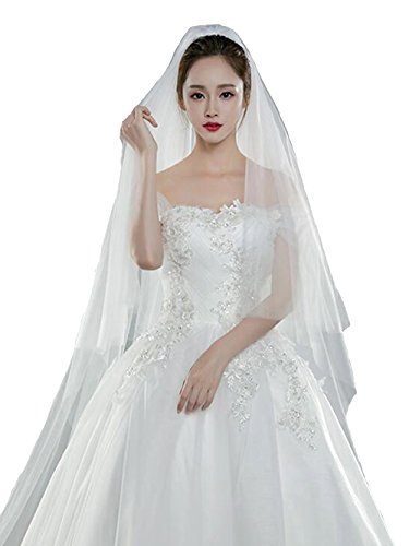 Bridalvenus Wedding Veils Bridal Cathedral Veil Long Veil Chapel Veil with Comb (118 inches/3m, Two Tiers Veil (white)