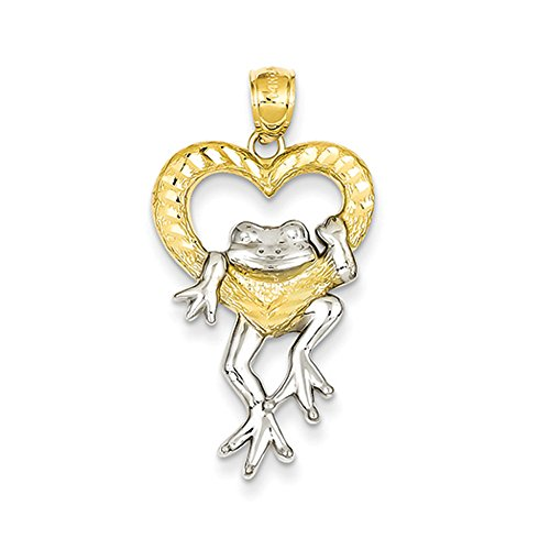 14k Yellow Gold and White Rhodium Two Tone Frog and Heart Pendant 14k Gold Frog