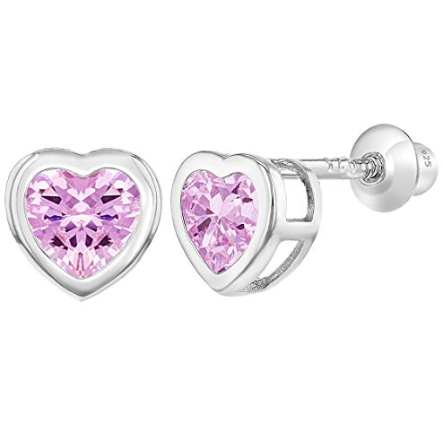 Valentines Day Pierced Heart - 925 Sterling Silver CZ Small Heart Screw Back Earrings Baby Girl