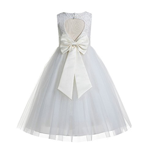 Satin Ivory Flower Girl Dresses - ekidsbridal Floral Lace Heart Cutout Ivory