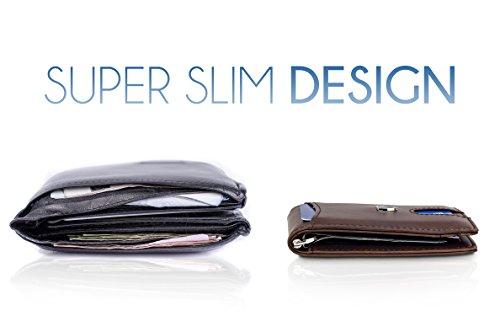 TRAVANDO-Money-Clip-Wallet-for-Men-ORLANDO-Front-Pocket-Minimalist-Slim-Wallet--RFID-Blocking--Quick-Pull-Strap--Bill-Compartment--ID-Window