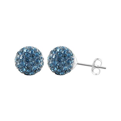 968fecc27 Image Unavailable. Image not available for. Color: Sterling Silver 6mm  Round Montana Blue Crystal Ball Stud Earrings ...