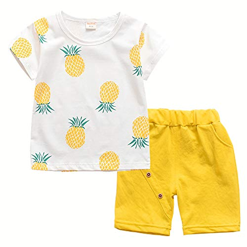 Toddler Baby Boy Girl Summer Clothes Sets Casual Shirts & Shorts Outfits(Yellow,24M)