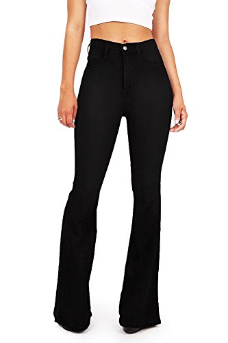 Vibrant Women's Juniors Bell Bottom High Waist Fitted Denim Jeans,Jet Black Denim,1 - Front Blouse Tuck