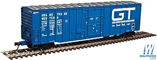 N GAUGE NSC 5111 50' Plug-Door Boxcar - Ready to Run -- Grand Trunk Western #598005 (blue, white, Large Good Track Road ()