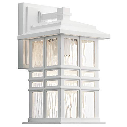 Wall Outdoor Large Beacon Lantern (Kichler Lighting 49829WH Beacon Square - One Light Outdoor Small Wall Lantern, White Finish with Clear Hammered Glass)